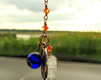 Metaphysical Gift. Car Charms. Sun Catcher. St Christopher Travel Protection. Red Ombre Swarovski Crystal Chain. Quartz Crystal. Evil Eye