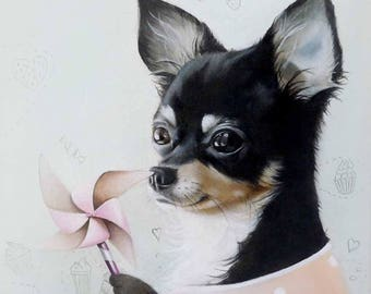 Baby room wall art, dog painting, dog pictures, childrens wall art, animal painting, chihuahua art, Oil Painting, whimsical playroom decor