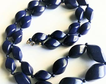 Lucite Wavy Bead Necklace Navy Blue Purple Graduated Beads 30 Inch Strand Cottage Chic Mid Century Gift Guide Women