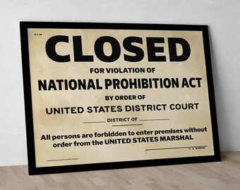 US Government Prohibition Poster Reproduction Home Decor Retro Wall Art