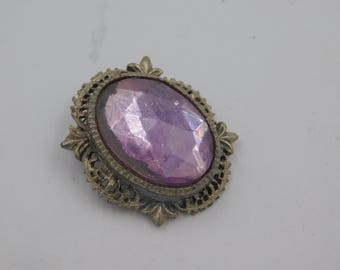 Vintage Purple Stone Costume Jewelry Pin Marked Florenz dr63