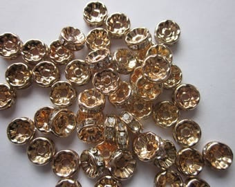 Gold Rondelle Copper Spacer Beads 8mm 20 Beads