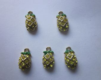 Pineapple Yellow and Green Rhinestone Charms 14x8mm 4 Charms