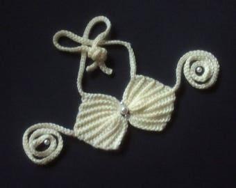 Crochet seashell mermaid top,READY to SHIP,shell bikini costume,crochet baby mermaid bikini bra,9-12 months tutu top photo shoot