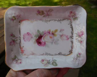 Vintage 1940s to 1960s Bavarian Small Dish Trinket/Candy/Jewelry Schumann Arzberg Germany Little Gold Trim Retro White/ Pink Roses Bavaria