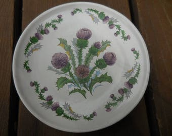 Vintage 1970s to 1990s Small Plate/Dish White with Purple Thistle Green Leaves Highland China Scotland Decorative Decor Display