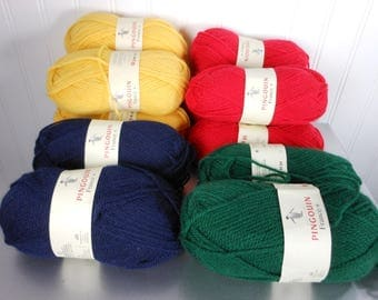 12 Skeins PINGOUIN Yarn Wool Acrylic FRANCE Primary Colors 50 GR 1 3/4 oz each 126 Yds