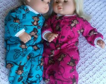 Flannel Footie Sleeper for Bitty Baby 15 inch Baby Dolls
