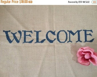 ON SALE Welcome Embroidery Needlepoint Cross Stitch Welcome Sign