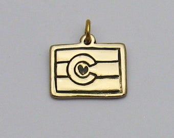 Gold Bronze Colorado State Flag Charm, Colorado Pride, Colorado Jewelry, State Jewelry, Colorado Souvenir, Colorado Flag, Colorado Charm