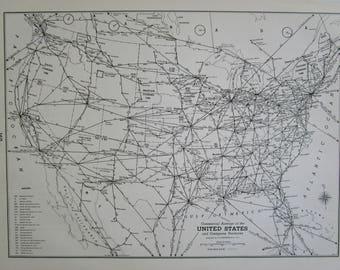 Vintage Usa Map Etsy - Map of northwest us