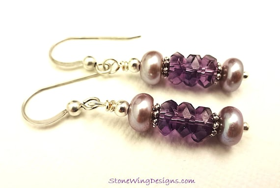Amethyst and Lavender Pearl Earrings, February Birthstone