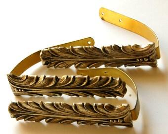 Curtain Tie Backs, Vintage Drapery Tiebacks, 3 Curtain Ties, Gold Curtain Holders, Hollywood Regency Decor