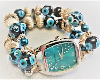 Turquoise and Silver Color Beaded Interchangeable Watchband, Stretchy Bracelets, Vintage Style  Watchband, Watches, Women, Gifts For Her,