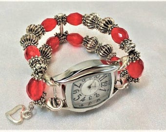 Beaded, Chunky Interchangeable Watchband, Stretchy, Bling,  Watches, Handmade, Women,