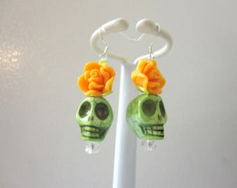 Green Sugar Skull Earrings Day of the Dead Jewelry Orange Rose