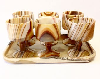 Stone Goblets Serving Tray Set Agate Onyx Drink Cups Glasses