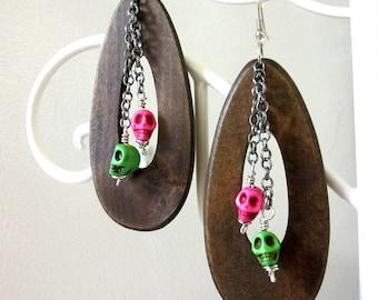 Skull Earrings Day of the Dead Earrings Sugar Skull Jewelry Wood Pink Green Skulls