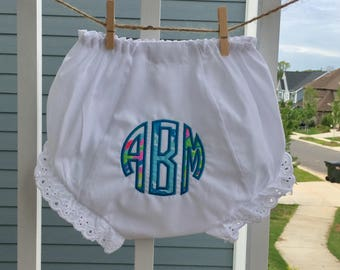 Embroidered Monogram Applique with genuine Lilly Pulitzer Fabric