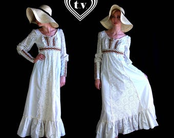 vtg 70s GUNNE SAX crochet lace corseted Maxi DRESS xxs white folk hippie boho renaissance gypsy corset
