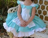 Alice in Wonderland girls flutter sleeve dress with built in underskirt