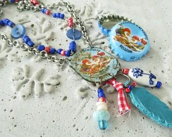 Blue recycled La Chouffe bottle cap necklace