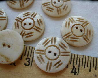 "Tribal Pattern Carved Bone Buttons Ethnic round 20MM 32L 13/16"" knit crochet embellish 2-hole sew on vintage each is OOAK Bovine"