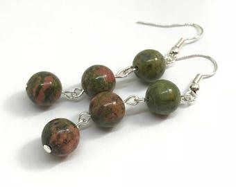 Unakite earrings, unakite dangle earrings, stone earrings, green and pink earrings