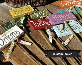CUSTOM Garden Marker,wood Garden Stakes,vegetable Markers,custom Garden  Signs,wood