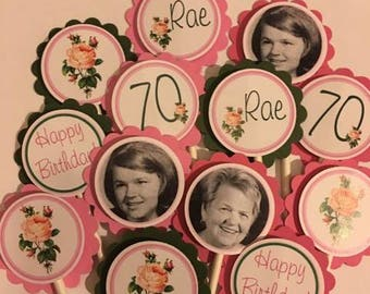 Rose Themed Cupcake Toppers