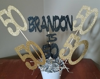 9 Personalized Large Glitter Centerpieces // 50th Birthday // Decorations //  Any Year // Cake Toppers