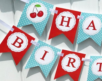 Cherry Birthday Banner Printable - Instant Download - Cherry Collection