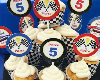 Race Car Racing Cars Party Cupcake Toppers Printable - Small Party Circles - On Wheels Collection