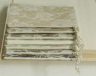 Bride Clutch Bag Wristlet Lace Roses Bachelorette Gift Purse Harvest Wedding Party Gift White Chocolate Beige Brown