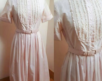 Vintage 1950's Shirtwaister Pink Ruffle Rockabilly Day Dress