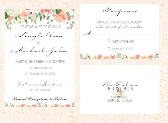 Simple Wedding Invitation - Printable - Elegant Wedding Invitation