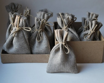"Natural Linen Favor Bags.Candy/ Sweet.Burlap linen. Eco/ Beach/ Rustic/ Country wedding. Christening/Baptism. Size: 5"" ( 13cm ) x 3"" ( 8cm )"