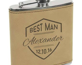 Personalized Leather and Stainless Steel Flask - Custom Engraved Groomsman Flask - Bridesmaid Flask - Wedding Flask - Monogrammed Flask