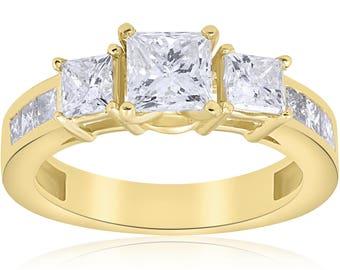 2 1/2 ct Princess Cut Diamond Engagement Ring 14k Yellow Gold