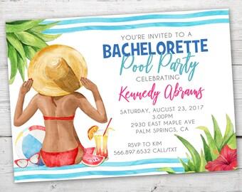 Bachelorette Pool Party Invitation, Bachelorette Party, PRINTABLE, Bachelorette Party Invitation, Bachelorette Weekend Invitation, Hen Party