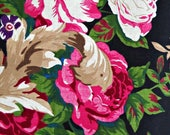 Pink Roses on Black Flower Fabric, Polyester Rayon Linen Blend, Fabric by the Yard, Sewing Fabric