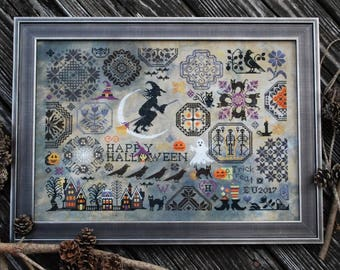 LILA'S STUDIO Halloween Quaker counted cross stitch patterns at thecottageneedle.com witch ghost black cat
