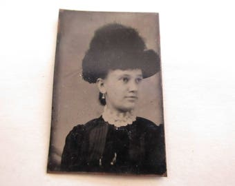 antique miniature gem tintype photo - 1800s, woman with large hat