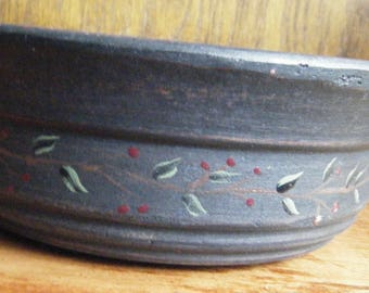 Black Rustic Wooden Bowl with Hand Painted Vines and Berries