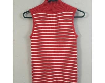 90's Red and White Striped Tommy Hilfiger Mock Neck Ribbed Tank