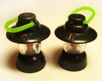 2 Vintage Plastic Black Lantern Bracelet Charms