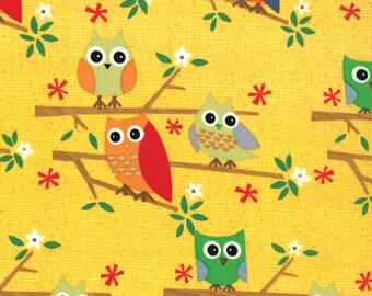 Jenn Ski Fabric, Kids Novelty Fabric, Yellow Owls, Ten Little Things by Jenn Ski for Moda Fabrics, 30502-13