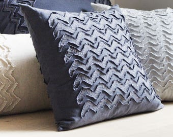 Charcoal linen pillow cover, Textured soft linen cushion cover