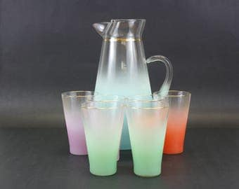 Vintage Multicolored Blendo Pitcher with 6 Glasses (E8615)