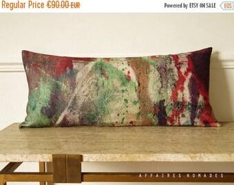 ON SALE Carpe koi.  Japanese inspired lumbar pillow. Abstract art printing linen pillowcase.  Coral orange & boho green  .. Carp koi/ FRAGME